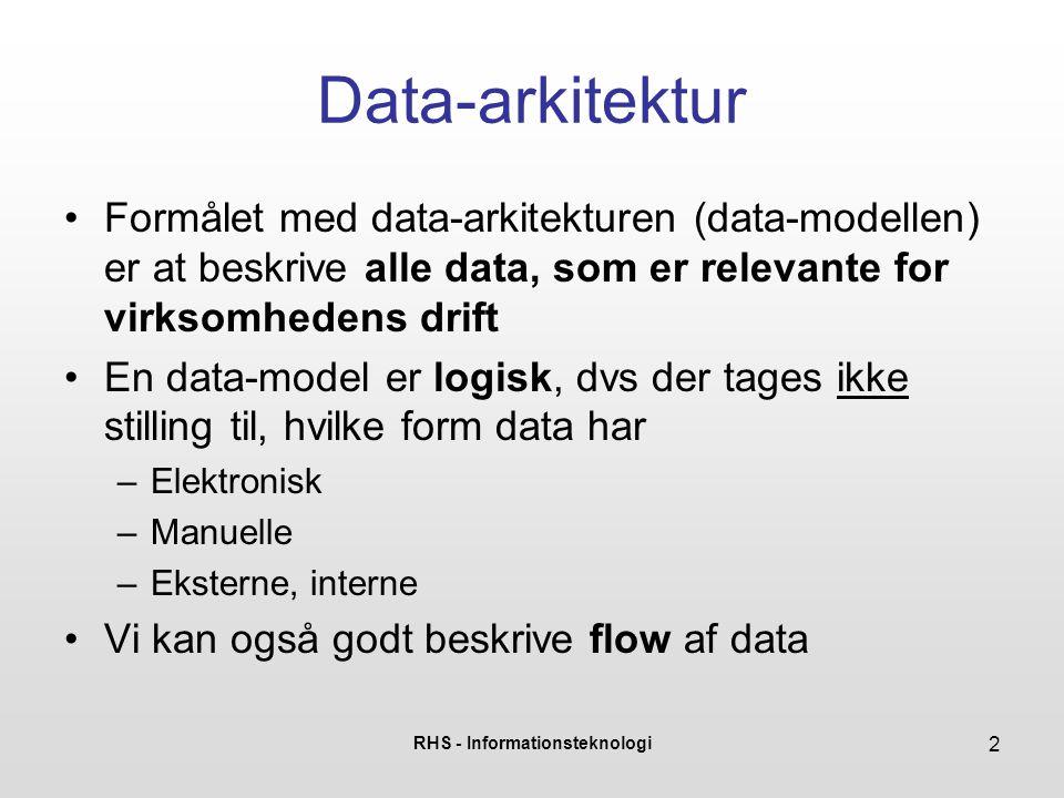 RHS - Informationsteknologi 3 Værktøjer til data-modellering •For selv en mindre virksomhed kan der være mange typer data i spil •Brug for at starte fra toppen , og arbejde sig ned mod et mere detaljeret niveau •Værktøjer –Context-diagrammer –Data-flow diagrammer –ER-diagrammer
