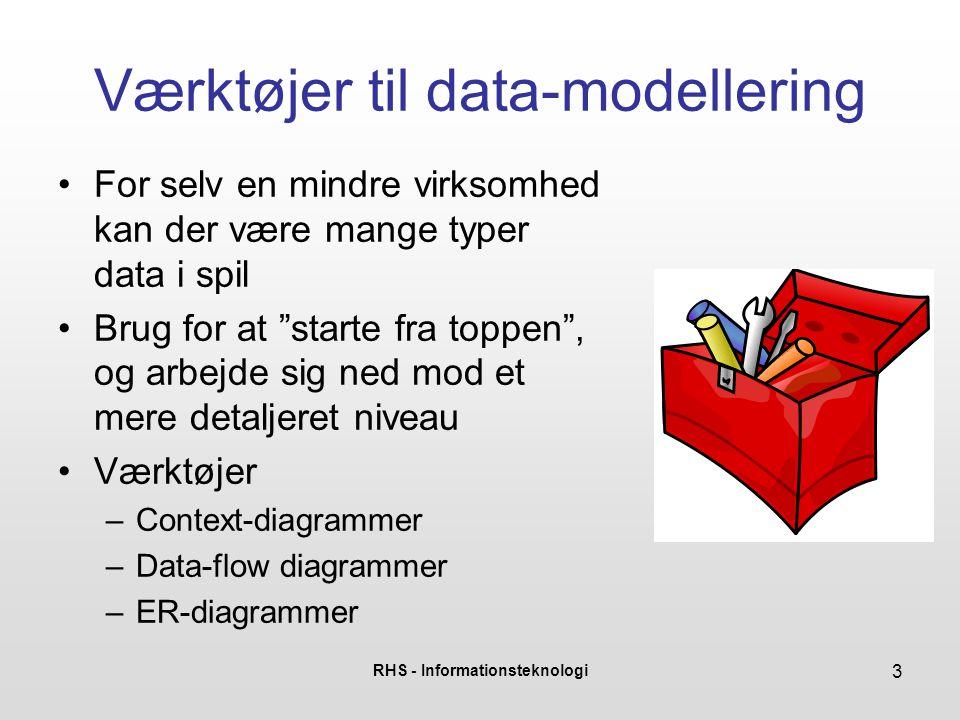 RHS - Informationsteknologi 4 Context-diagram •Øverste niveau af modellen •Vigtigt formål er afgrænsning – hvordan interagerer vores system med omverdenen med hensyn til data: –Hvem sender data til systemet.