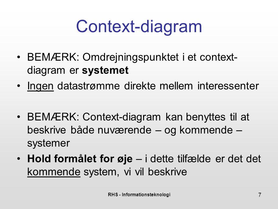 RHS - Informationsteknologi 7 Context-diagram •BEMÆRK: Omdrejningspunktet i et context- diagram er systemet •Ingen datastrømme direkte mellem interess