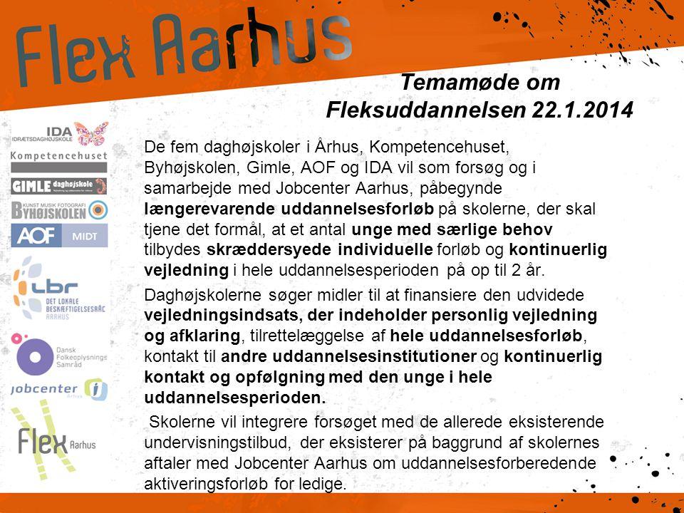 Temamøde om Fleksuddannelsen 22.1.2014 De fem daghøjskoler i Århus, Kompetencehuset, Byhøjskolen, Gimle, AOF og IDA vil som forsøg og i samarbejde med Jobcenter Aarhus, påbegynde længerevarende uddannelsesforløb på skolerne, der skal tjene det formål, at et antal unge med særlige behov tilbydes skræddersyede individuelle forløb og kontinuerlig vejledning i hele uddannelsesperioden på op til 2 år.