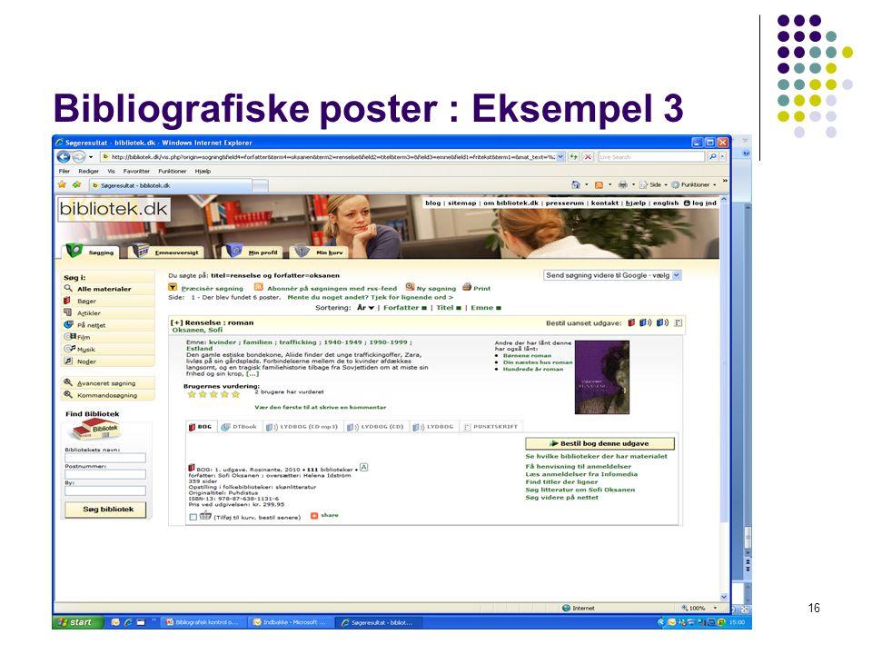 Bibliografiske poster : Eksempel 3 16