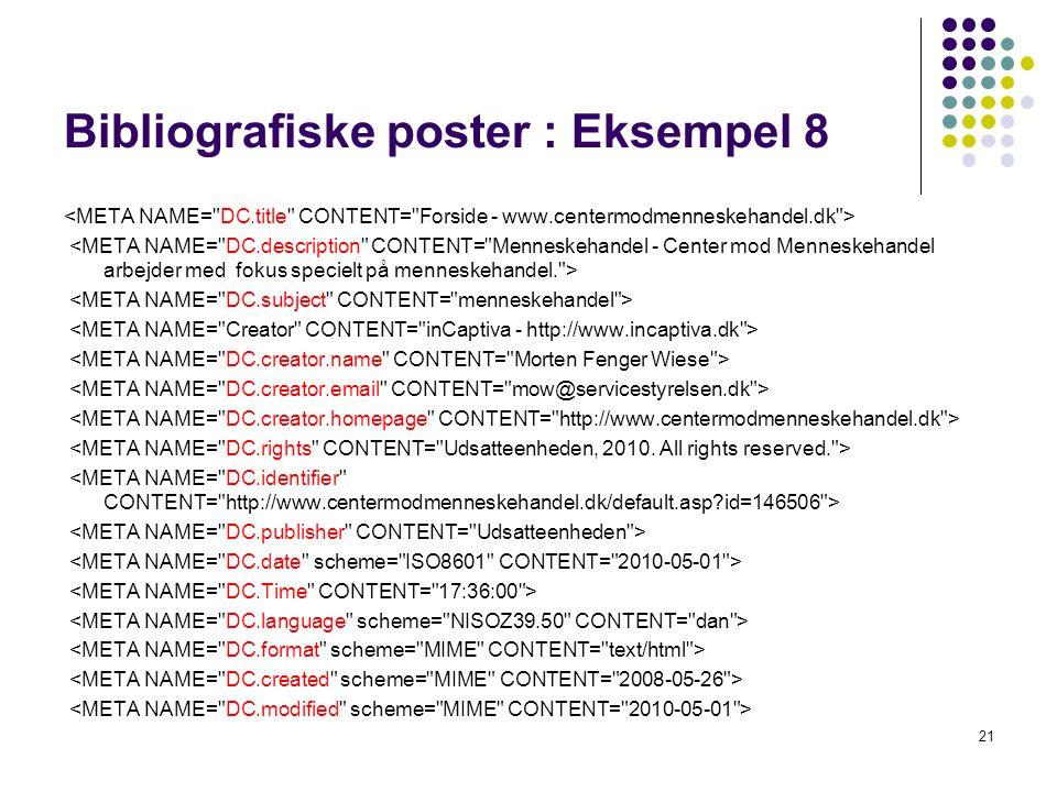 Bibliografiske poster : Eksempel 8 21