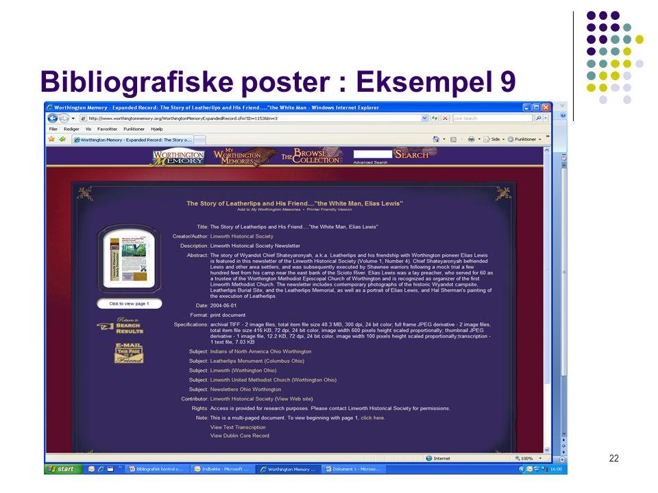 Bibliografiske poster : Eksempel 9 22