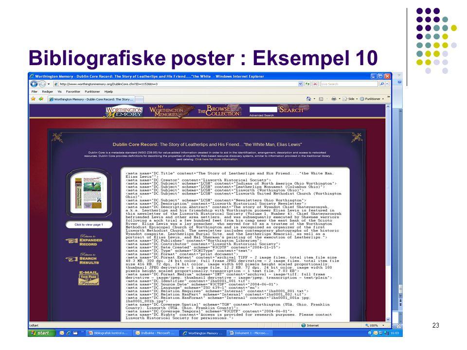 Bibliografiske poster : Eksempel 10 23