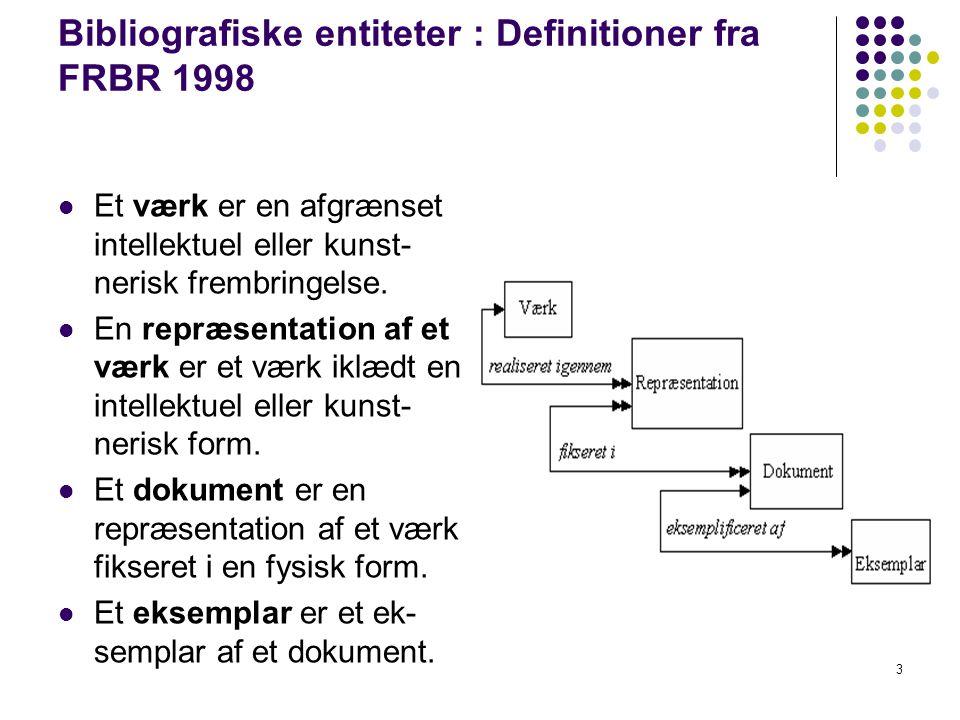 Bibliografiske entiteter : Definitioner fra FRBR 1998  Et værk er en afgrænset intellektuel eller kunst- nerisk frembringelse.