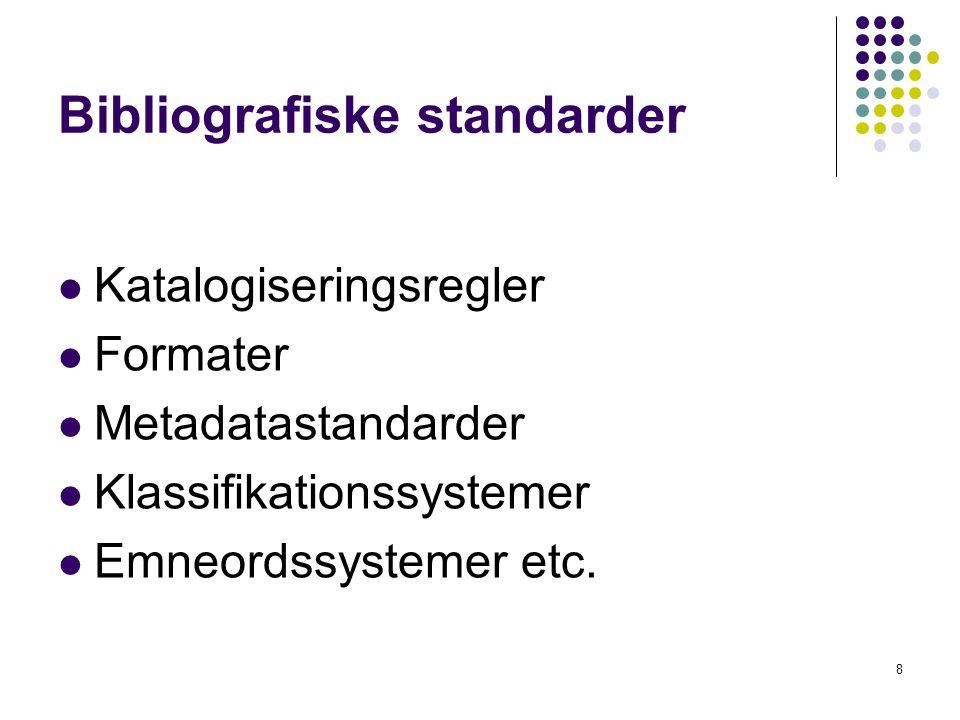 Bibliografiske standarder  Katalogiseringsregler  Formater  Metadatastandarder  Klassifikationssystemer  Emneordssystemer etc.