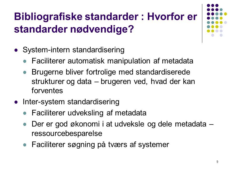 Bibliografiske standarder : Hvorfor er standarder nødvendige.