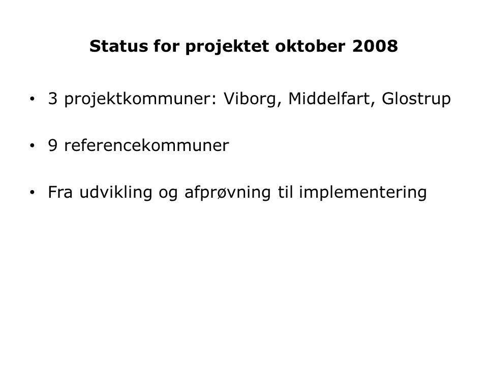 Status for projektet oktober 2008 • 3 projektkommuner: Viborg, Middelfart, Glostrup • 9 referencekommuner • Fra udvikling og afprøvning til implementering
