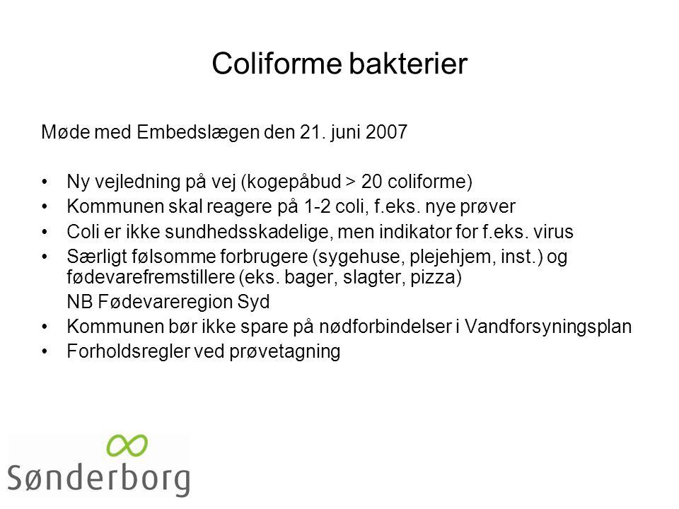 Coliforme bakterier Møde med Embedslægen den 21.