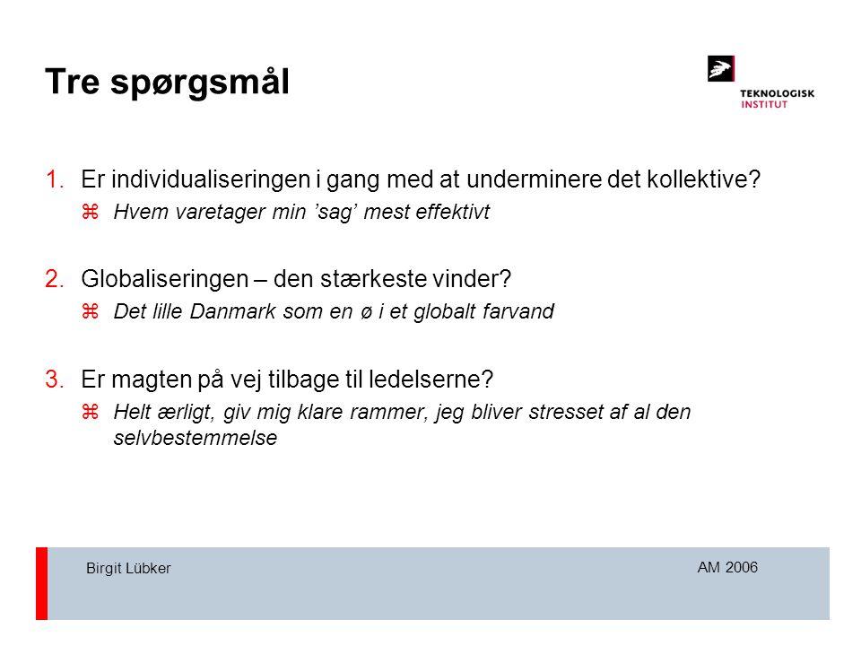 AM 2006 Birgit Lübker Tre spørgsmål 1.Er individualiseringen i gang med at underminere det kollektive.
