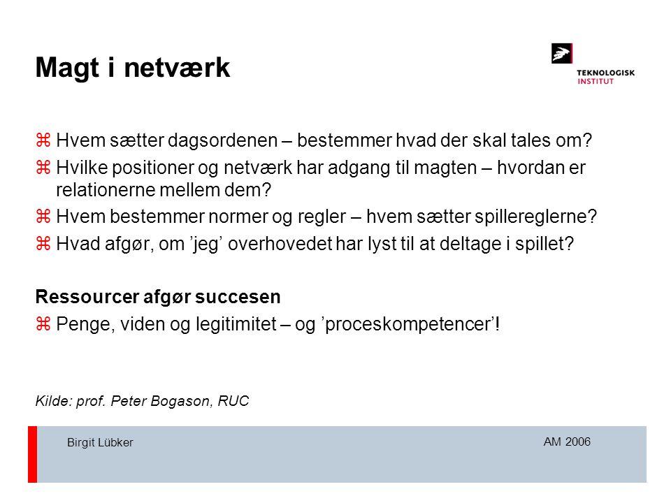 AM 2006 Birgit Lübker Magt i netværk  Hvem sætter dagsordenen – bestemmer hvad der skal tales om.