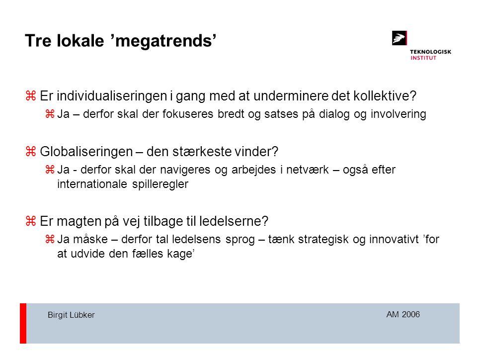 AM 2006 Birgit Lübker Tre lokale 'megatrends'  Er individualiseringen i gang med at underminere det kollektive.