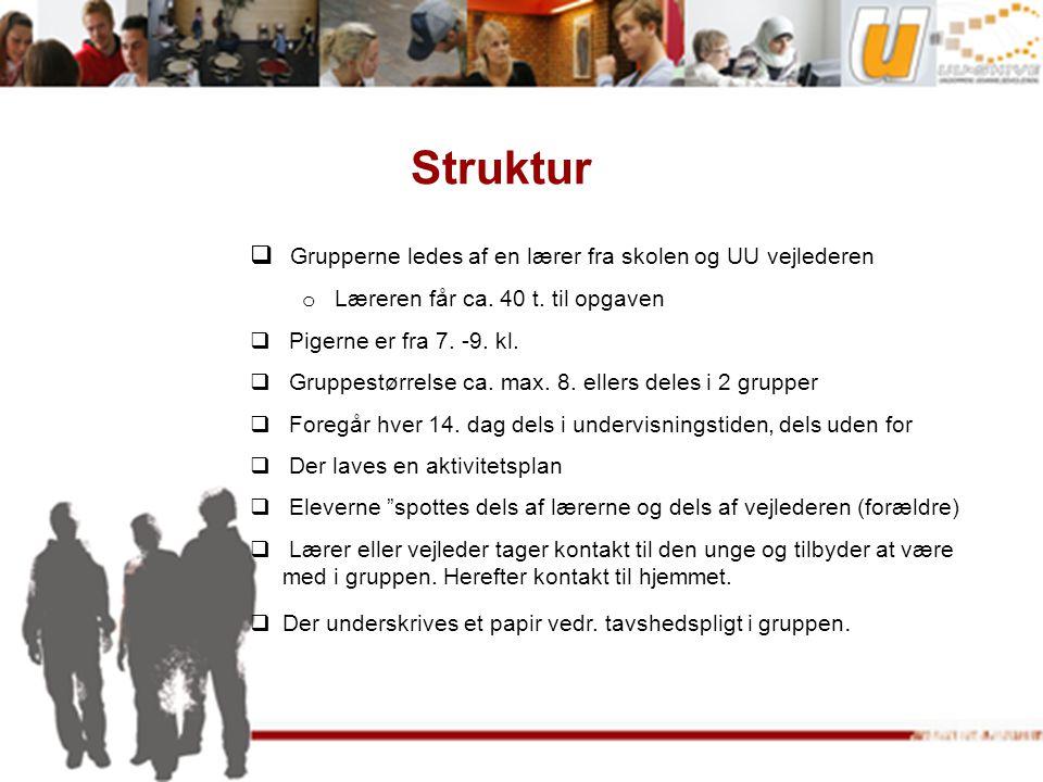Struktur  Grupperne ledes af en lærer fra skolen og UU vejlederen o Læreren får ca.
