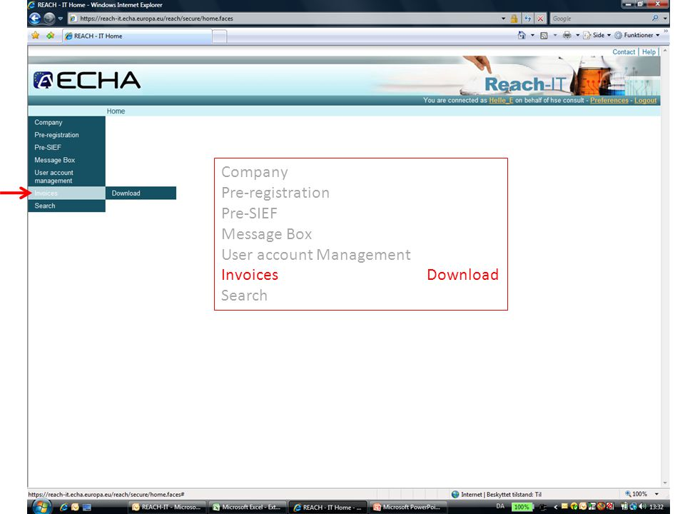 Company Pre-registration Pre-SIEF Message Box User account Management InvoicesDownload Search