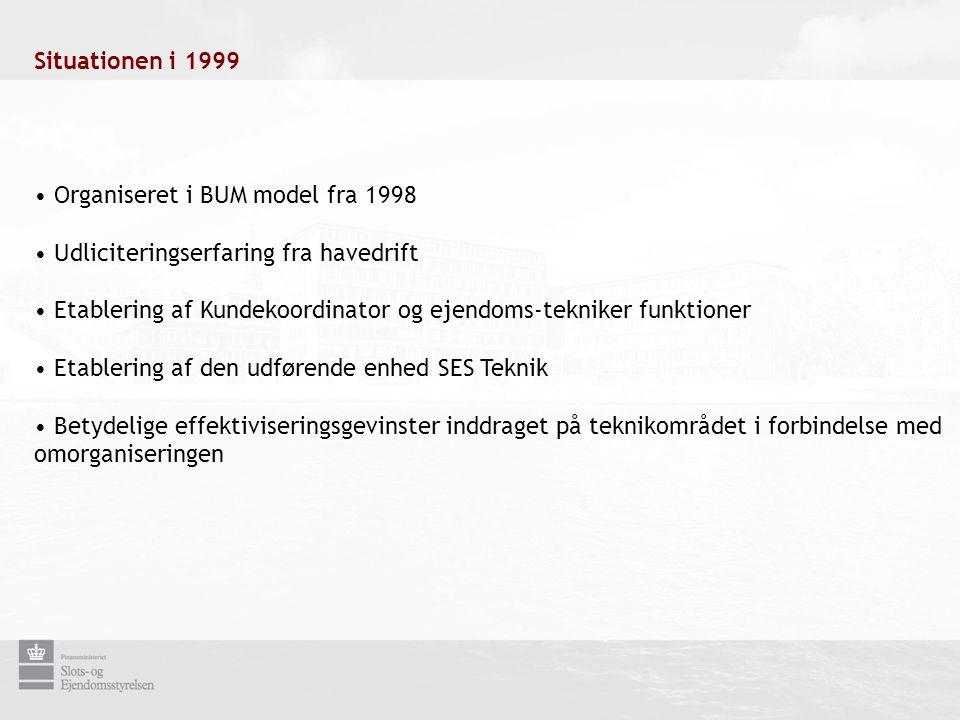 • Organiseret i BUM model fra 1998 • Udliciteringserfaring fra havedrift • Etablering af Kundekoordinator og ejendoms-tekniker funktioner • Etablering af den udførende enhed SES Teknik • Betydelige effektiviseringsgevinster inddraget på teknikområdet i forbindelse med omorganiseringen Situationen i 1999