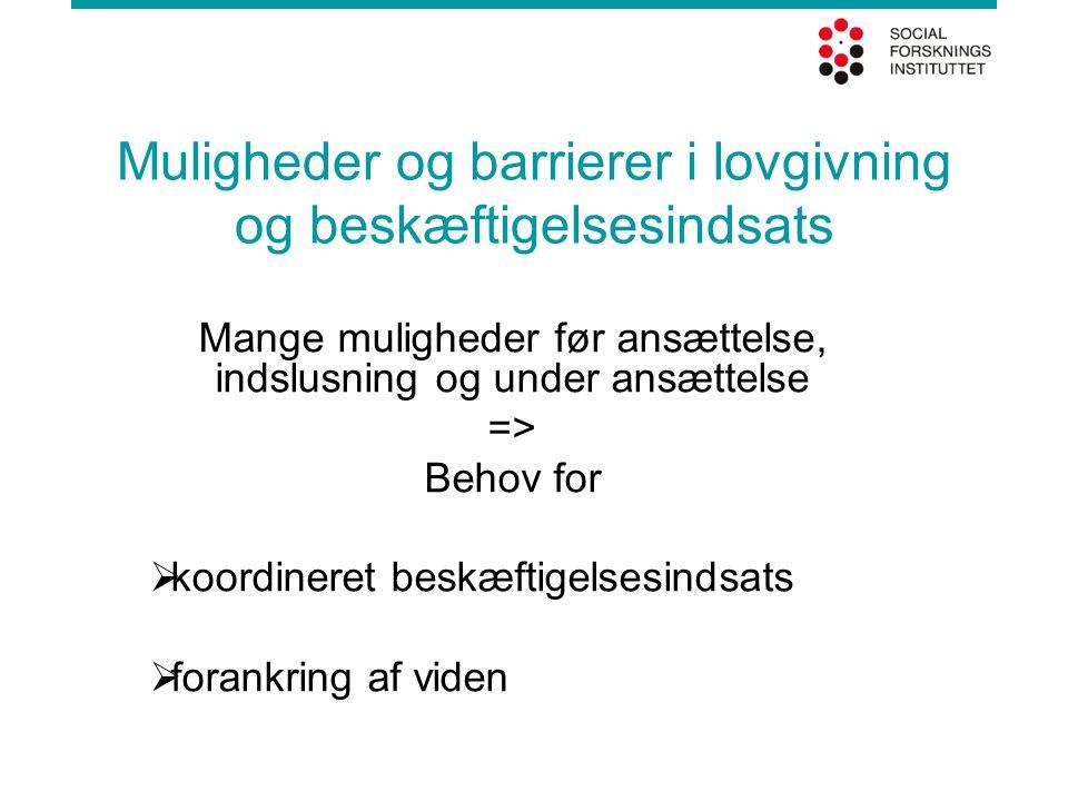 Muligheder og barrierer i lovgivning og beskæftigelsesindsats Mange muligheder før ansættelse, indslusning og under ansættelse => Behov for  koordineret beskæftigelsesindsats  forankring af viden