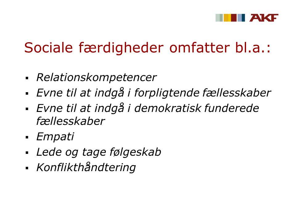 Sociale færdigheder omfatter bl.a.:  Relationskompetencer  Evne til at indgå i forpligtende fællesskaber  Evne til at indgå i demokratisk funderede fællesskaber  Empati  Lede og tage følgeskab  Konflikthåndtering