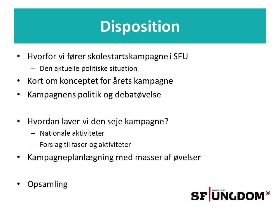 Disposition • Hvorfor vi fører skolestartskampagne i SFU – Den aktuelle politiske situation • Kort om konceptet for årets kampagne • Kampagnens politik og debatøvelse • Hvordan laver vi den seje kampagne.