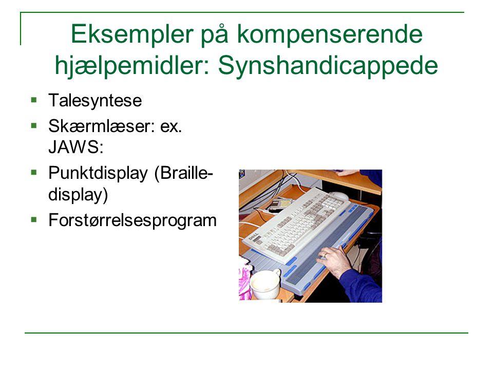 Eksempler på kompenserende hjælpemidler: Synshandicappede  Talesyntese  Skærmlæser: ex.