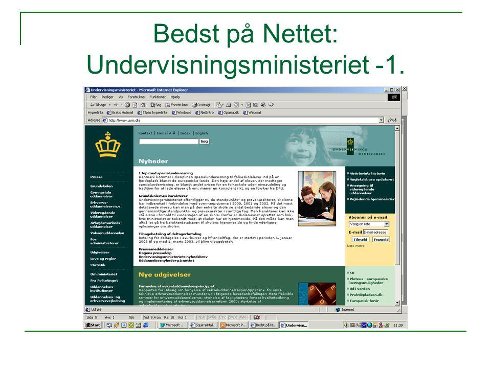Bedst på Nettet: Undervisningsministeriet -1.