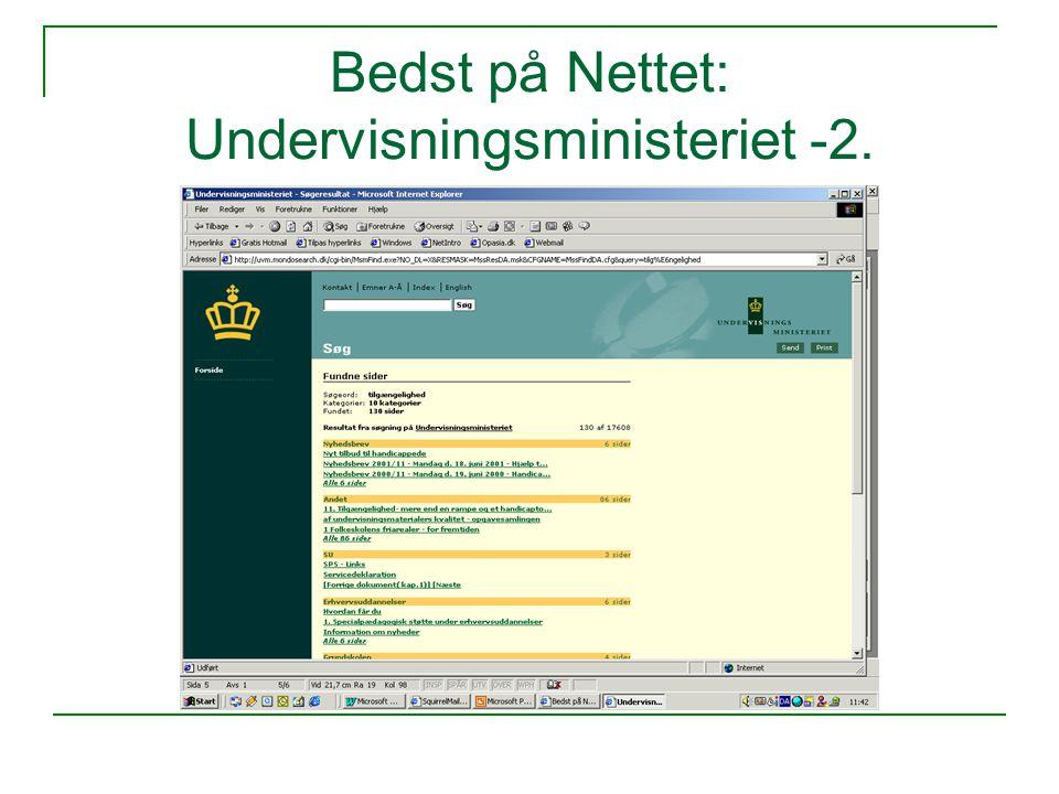 Bedst på Nettet: Undervisningsministeriet -2.
