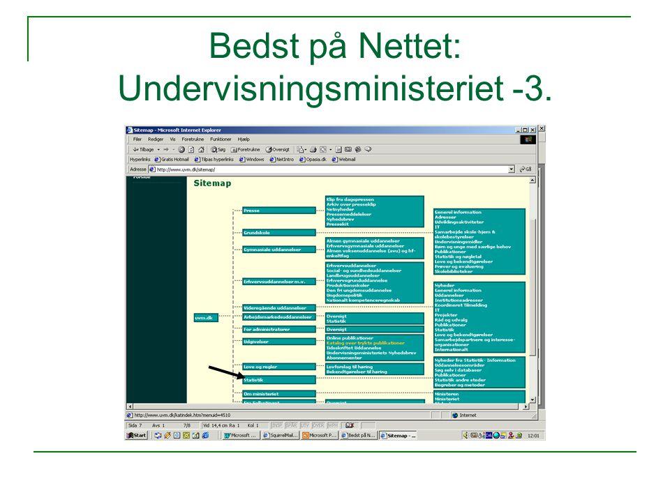 Bedst på Nettet: Undervisningsministeriet -3.