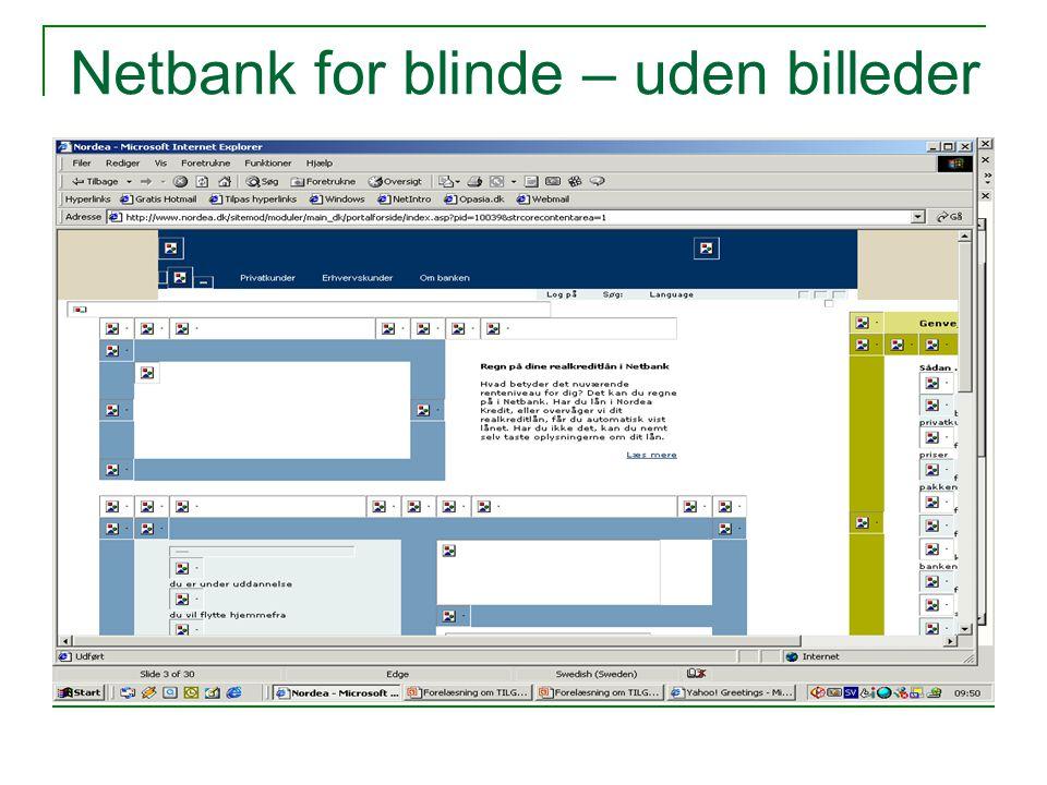 Netbank for blinde – uden billeder