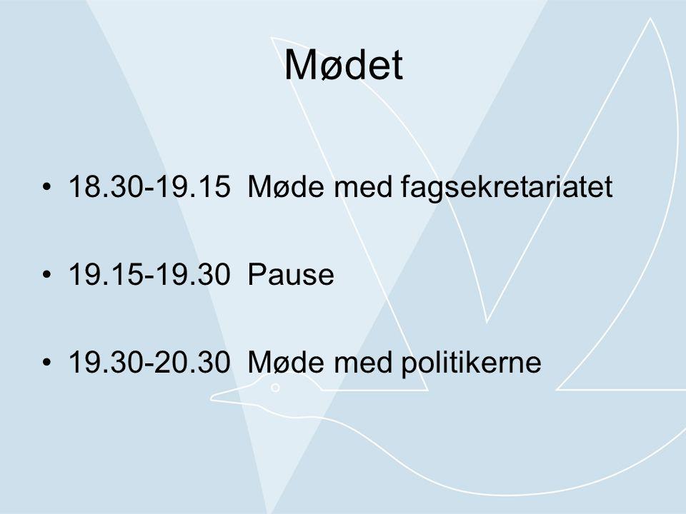 Mødet •18.30-19.15Møde med fagsekretariatet •19.15-19.30Pause •19.30-20.30Møde med politikerne