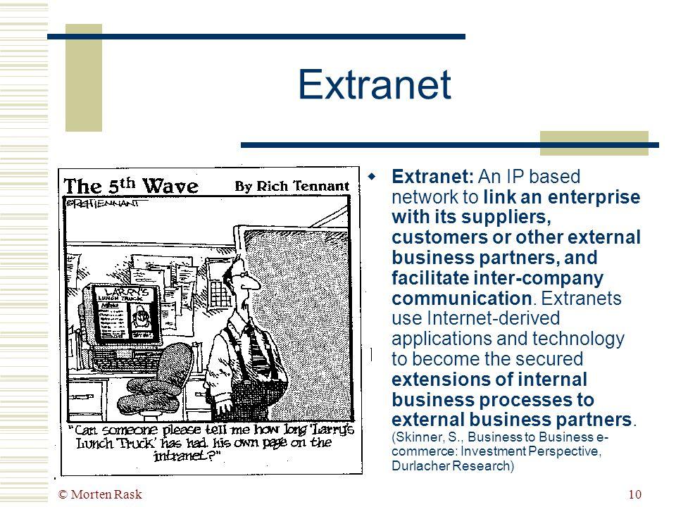 © Morten Rask9 Intermediary Nye e-værktøjer for interorganisa- torisk procesintegration ExtranetB2B MarketplacesE-procurement KøberSælger Powerplay