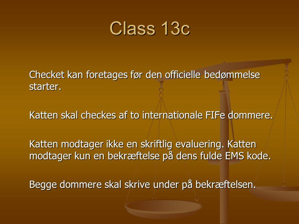 Class 13c Checket kan foretages før den officielle bedømmelse starter.