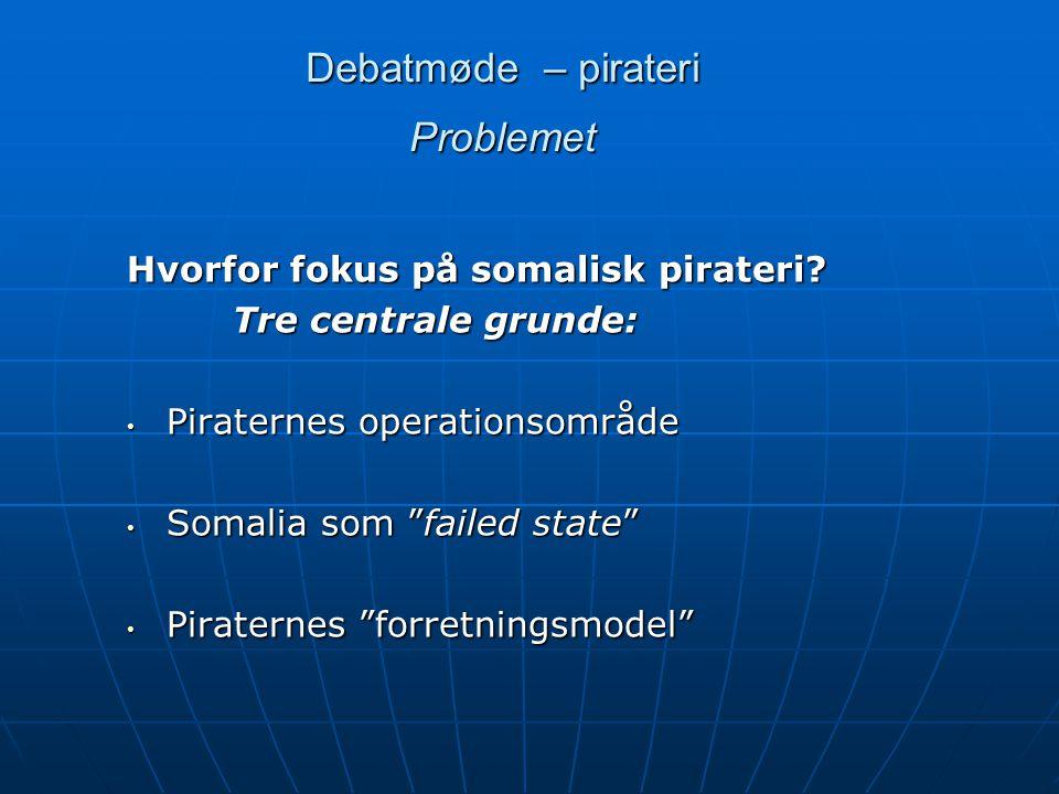 Debatmøde – pirateri Problemet Hvorfor fokus på somalisk pirateri.