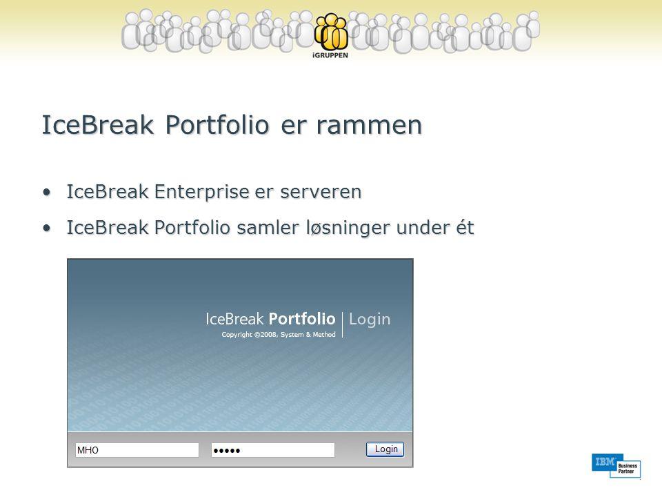 IceBreak Portfolio er rammen •IceBreak Enterprise er serveren •IceBreak Portfolio samler løsninger under ét