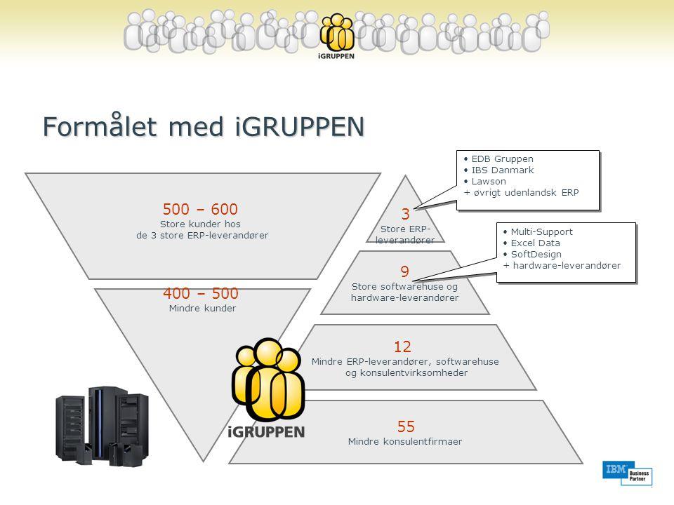 Formålet med iGRUPPEN Markedsanalyse: •Hvem arbejder med System i™ •Hvem er kunder på System i™ 3 Store ERP- leverandører 9 Store softwarehuse og hardware-leverandører 12 Mindre ERP-leverandører, softwarehuse og konsulentvirksomheder 55 Mindre konsulentfirmaer • EDB Gruppen • IBS Danmark • Lawson + øvrigt udenlandsk ERP • EDB Gruppen • IBS Danmark • Lawson + øvrigt udenlandsk ERP • Multi-Support • Excel Data • SoftDesign + hardware-leverandører • Multi-Support • Excel Data • SoftDesign + hardware-leverandører 500 – 600 Store kunder hos de 3 store ERP-leverandører 400 – 500 Mindre kunder