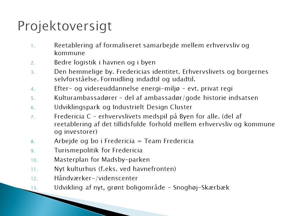 1. Reetablering af formaliseret samarbejde mellem erhvervsliv og kommune 2.