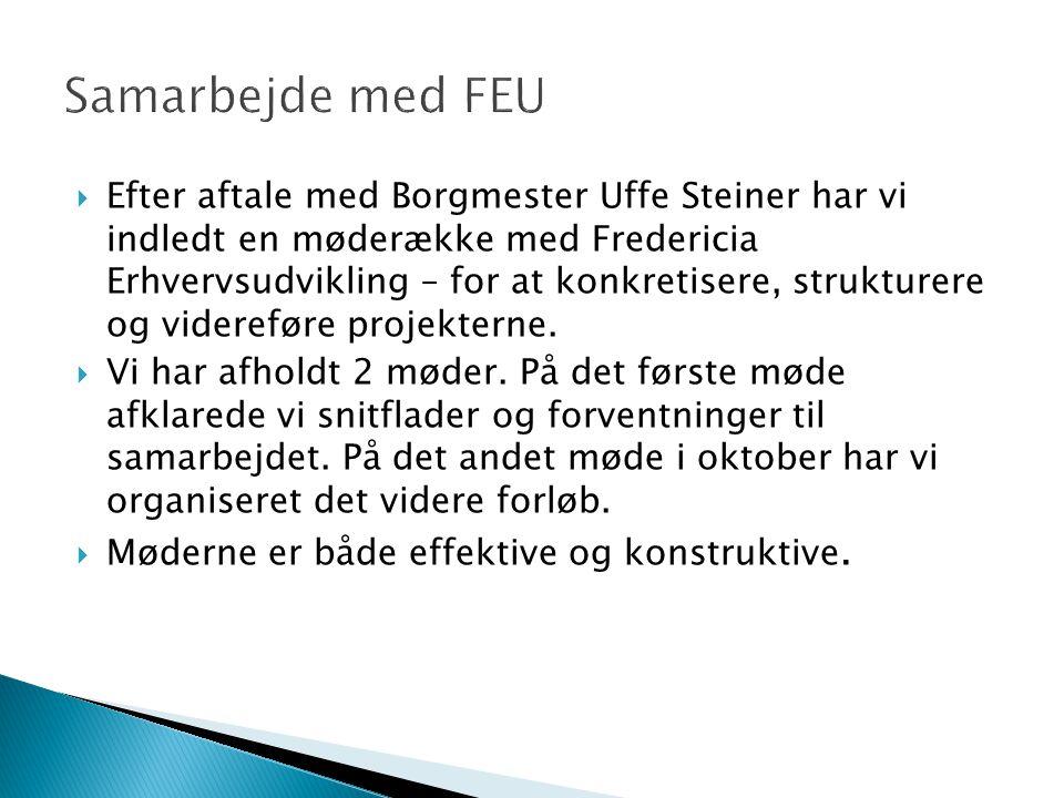  Efter aftale med Borgmester Uffe Steiner har vi indledt en møderække med Fredericia Erhvervsudvikling – for at konkretisere, strukturere og videreføre projekterne.
