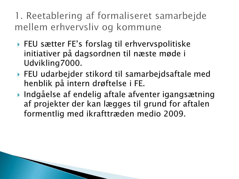  FEU sætter FE's forslag til erhvervspolitiske initiativer på dagsordnen til næste møde i Udvikling7000.