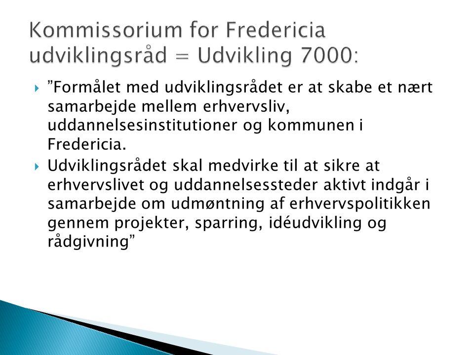  Formålet med udviklingsrådet er at skabe et nært samarbejde mellem erhvervsliv, uddannelsesinstitutioner og kommunen i Fredericia.