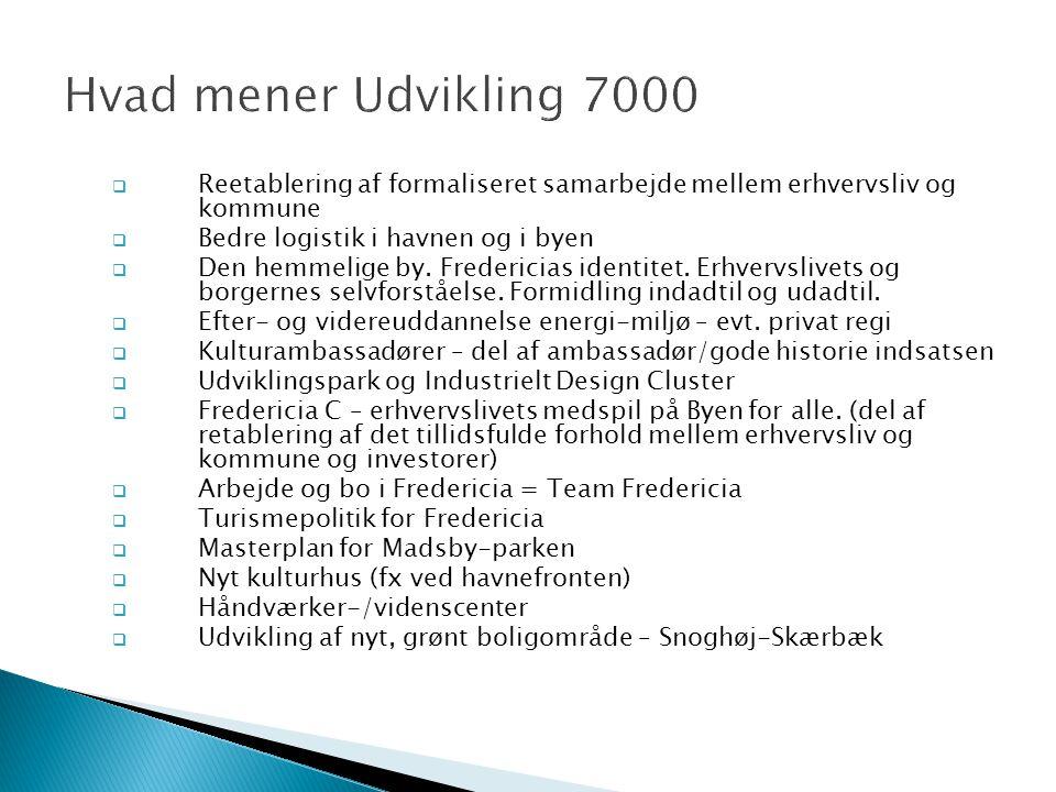  Reetablering af formaliseret samarbejde mellem erhvervsliv og kommune  Bedre logistik i havnen og i byen  Den hemmelige by.