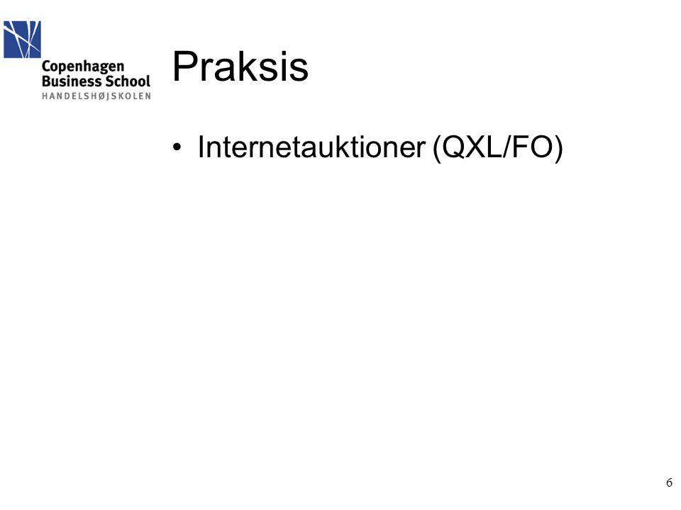 Praksis •Internetauktioner (QXL/FO) 6