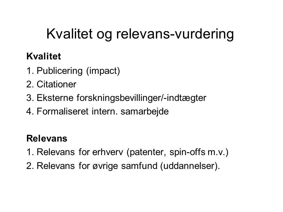 Kvalitet og relevans-vurdering Kvalitet 1. Publicering (impact) 2.
