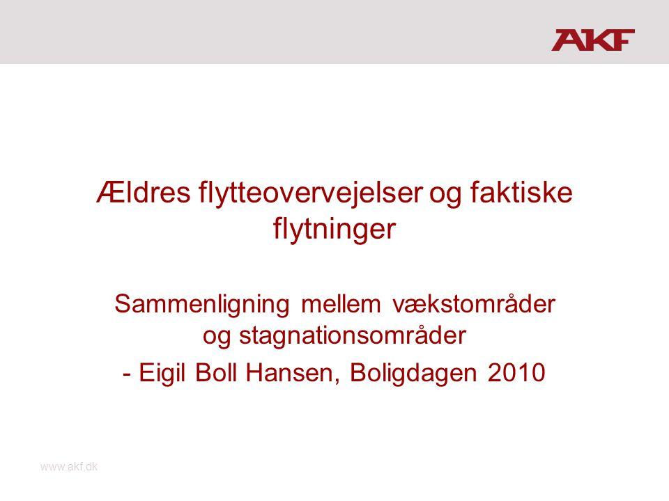 www.akf.dk Ældres flytteovervejelser og faktiske flytninger Sammenligning mellem vækstområder og stagnationsområder - Eigil Boll Hansen, Boligdagen 2010