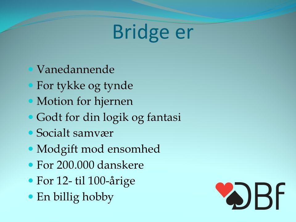 Bridge er  Vanedannende  For tykke og tynde  Motion for hjernen  Godt for din logik og fantasi  Socialt samvær  Modgift mod ensomhed  For 200.000 danskere  For 12- til 100-årige  En billig hobby