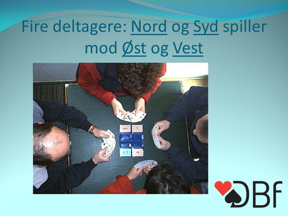 Fire deltagere: Nord og Syd spiller mod Øst og Vest To faste par
