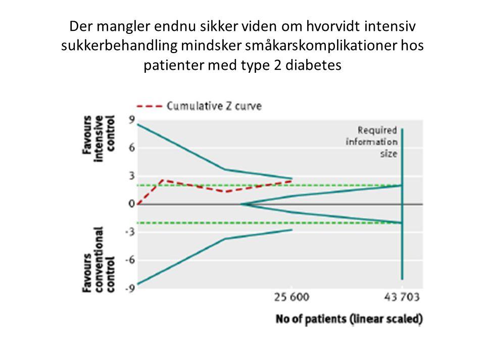 Der mangler endnu sikker viden om hvorvidt intensiv sukkerbehandling mindsker småkarskomplikationer hos patienter med type 2 diabetes