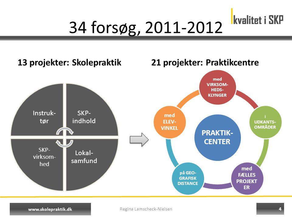 4 www.skolepraktik.dk Instruk- tør SKP- indhold Lokal- samfund SKP- virksom- hed 34 forsøg, 2011-2012 13 projekter: Skolepraktik21 projekter: Praktikcentre Regina Lamscheck-Nielsen PRAKTIK- CENTER med VIRKSOM- HEDS- KLYNGER i UDKANTS- OMRÅDER med FÆLLES PROJEKT ER på GEO- GRAFISK DISTANCE med ELEV- VINKEL