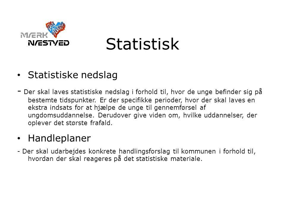 Statistisk • Statistiske nedslag - Der skal laves statistiske nedslag i forhold til, hvor de unge befinder sig på bestemte tidspunkter.