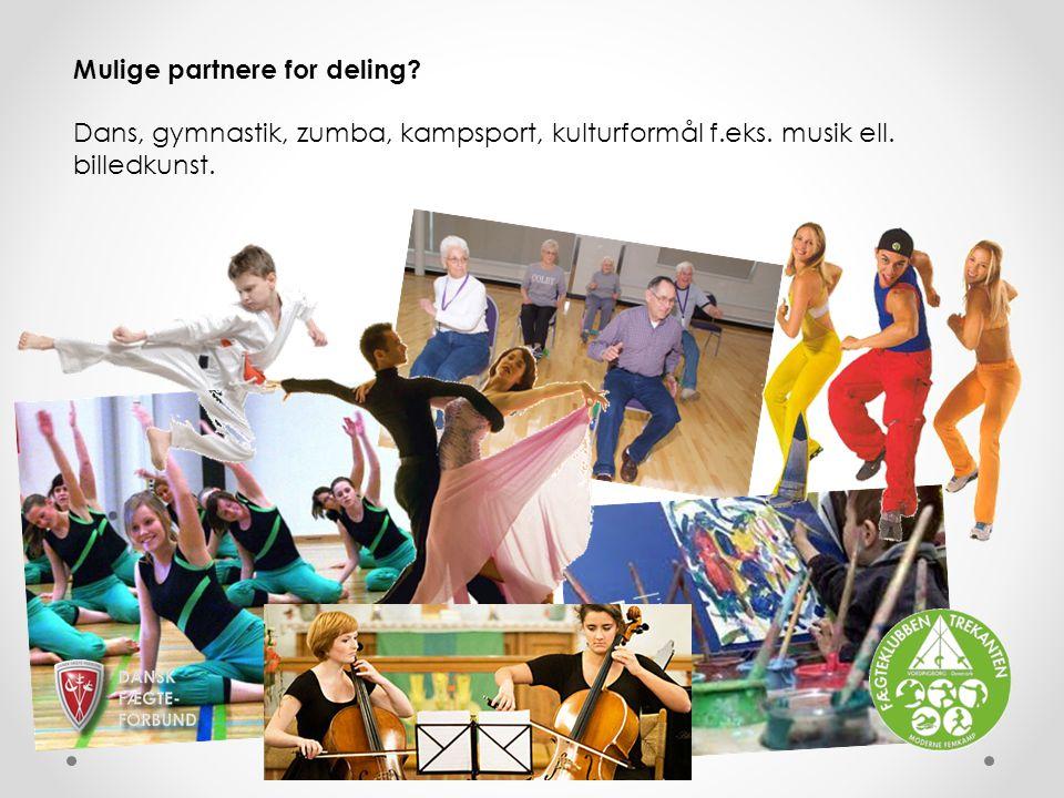 Mulige partnere for deling. Dans, gymnastik, zumba, kampsport, kulturformål f.eks.