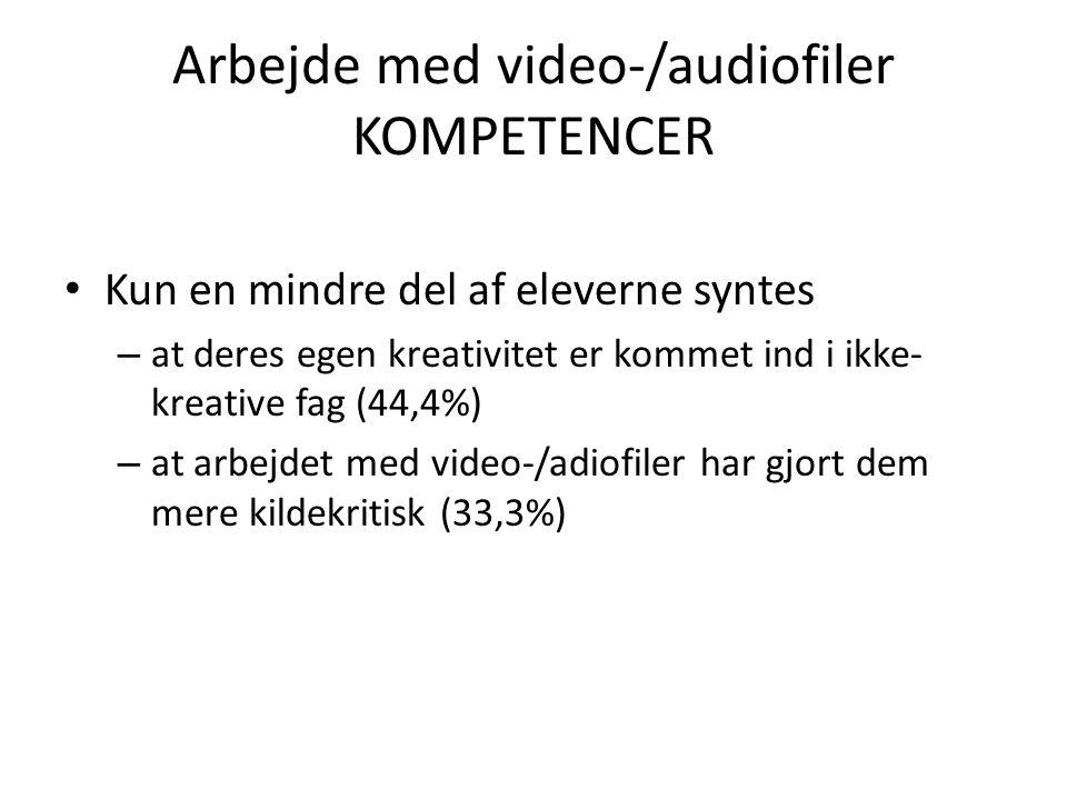 Arbejde med video-/audiofiler KOMPETENCER • Kun en mindre del af eleverne syntes – at deres egen kreativitet er kommet ind i ikke- kreative fag (44,4%) – at arbejdet med video-/adiofiler har gjort dem mere kildekritisk (33,3%)