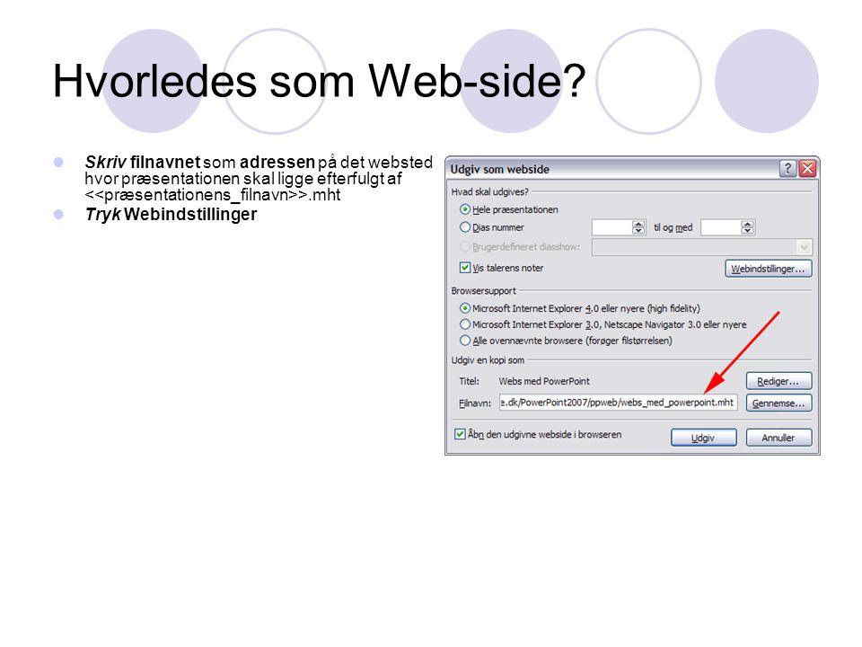 Hvorledes som Web-side.