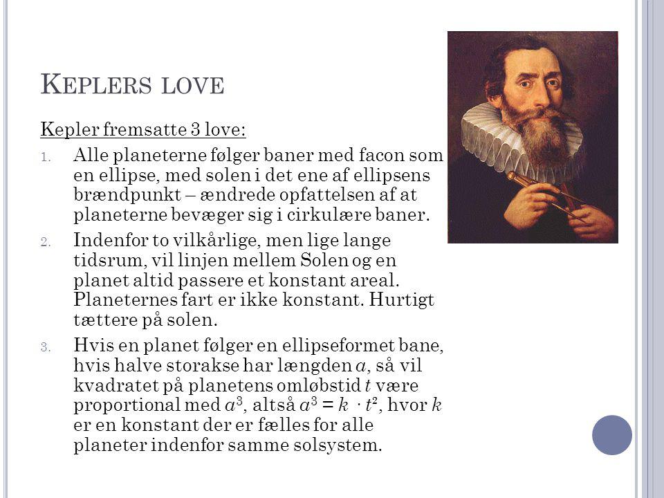 K EPLERS LOVE Kepler fremsatte 3 love: 1.